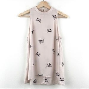 Everly kitty print sleeveless beige blouse